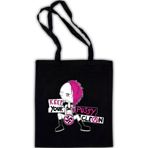 KEEP YOUR PUSSY CLEAN NEU Baumwollbeutel Bag Punk Banters Punkrock FCK NZS GNWP