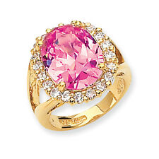 Jacqueline Kennedy 24K Gold Finish & Vermeil Simulated Pink Kunzite Ring Size 10