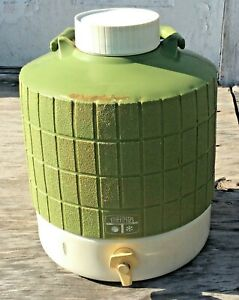 Vintage-Thermos-2-Gallon-Water-Cooler-Picnic-Jug-Green-amp-White
