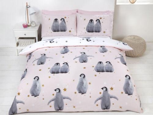 Starry Penguins Pink Christmas Bedding Set Duvet Cover Pillow Cases