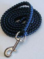 Paracord Dog Leash Heavy Duty 5' Long Custom Made Royal Blue & Black
