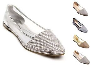 b1e872d6eaed Image is loading New-Ladies-Sparkly-Diamante-Flat-Point-Ballerina-Shoes