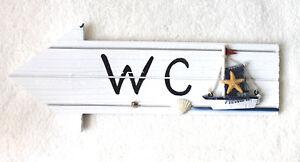 Schneidig Wc Hinweisschild Pfeil Holz M Boot U Seestern 30x12cm Schild Eine VollstäNdige Palette Von Spezifikationen Antiquitäten & Kunst