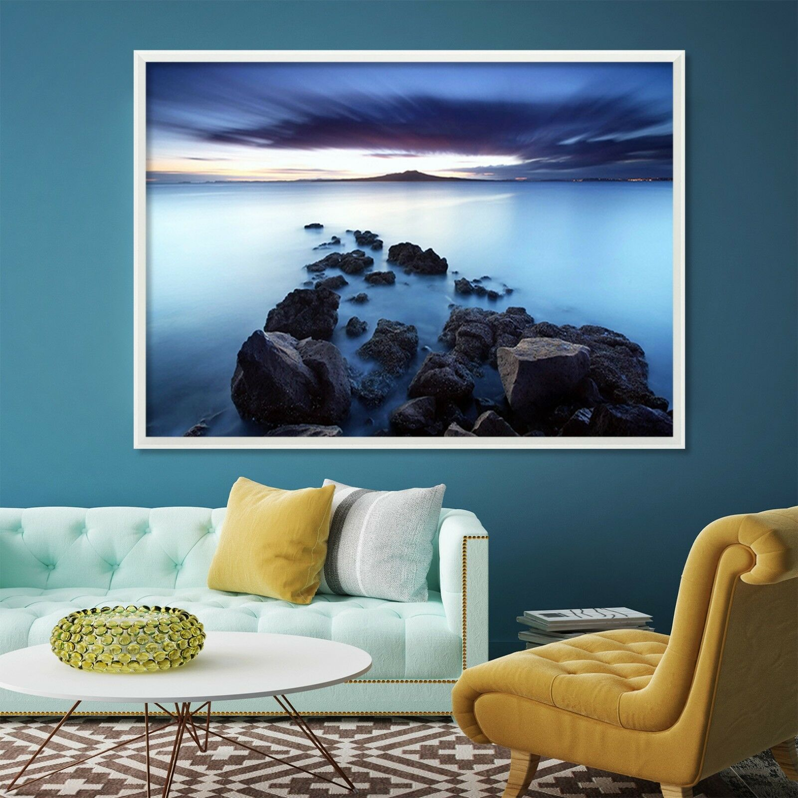 3D Sea Stone 4 Fake Framed Poster Home Decor Print Painting Unique Art Summer