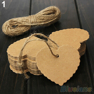 Popular Blank Brown Kraft Paper Hang Tags Wedding Favor Label Gift Cards 100