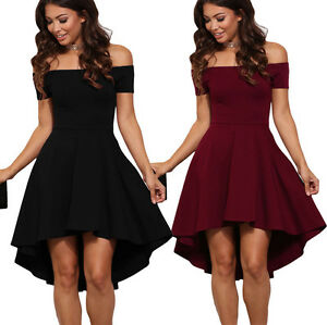 0bfeeffe53c Sexy Womens Ladies Off Shoulder Wine Red All The Rage Skater Party ...