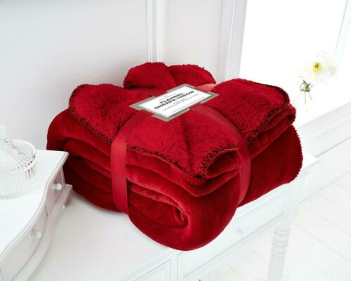Luxurious Super Soft Warm /& Cosy FLANNEL SHERPA FLEECE REVERSIBLE BLANKET THROW
