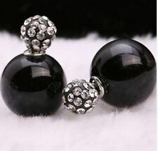 LARGE DOUBLE BLACK PEARL SHAMBALLA CRYSTAL BALL STUD EARRINGS 16MM