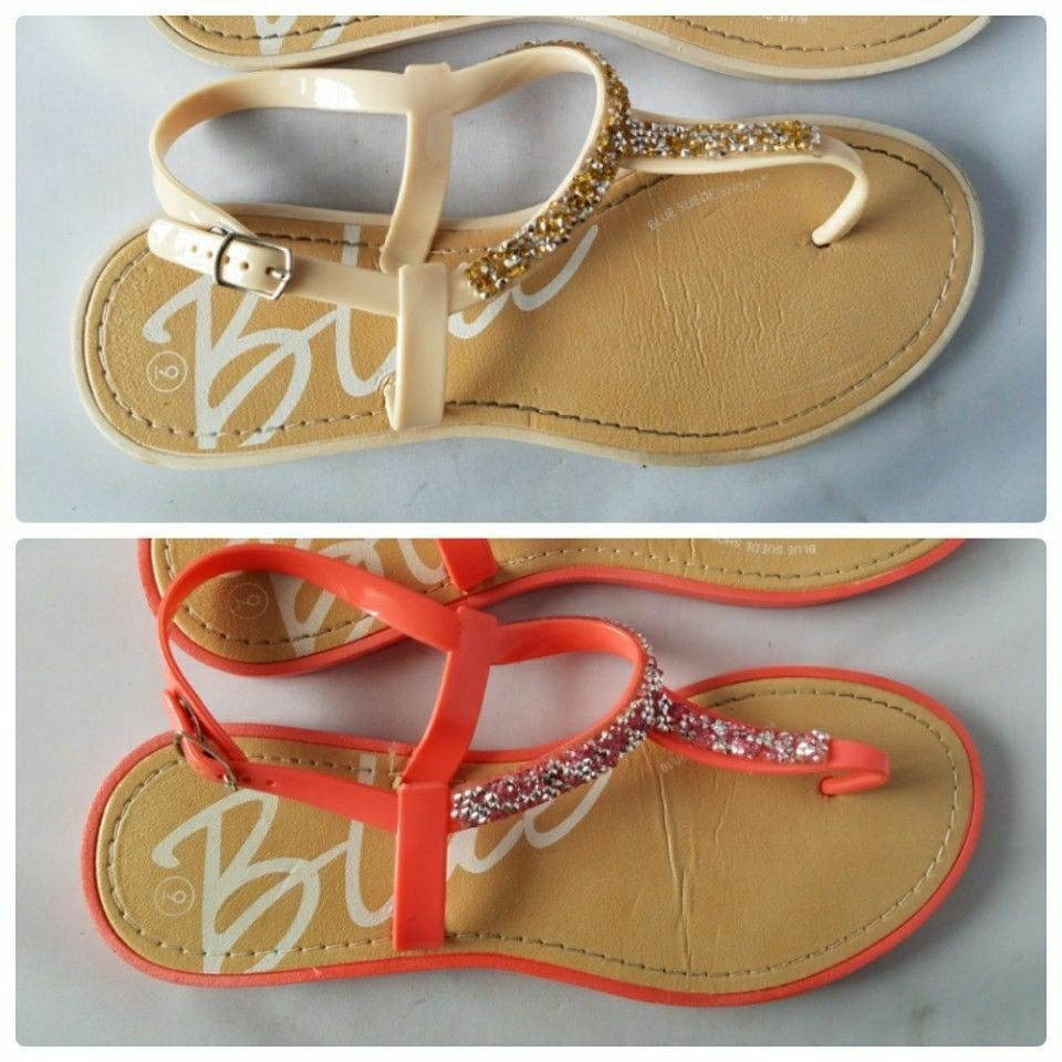 Blue Suede Shoes Or Women's Rhinestone T-Strap Thong Sandals Coral Or Shoes Beige 9M 80ca66