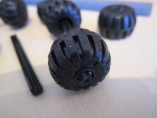 4 Asse LEGO AUTO//spazio//Star Wars 8 x solido Ruote//Pneumatici in Gomma Nero