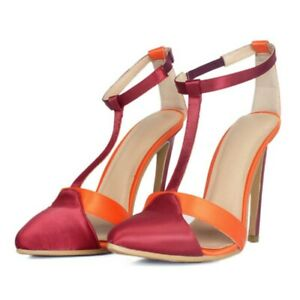 Women-039-s-T-strap-High-Heel-Sandals-Pointed-Toe-Stiletto-Satin-Pumps-Party-Shoes