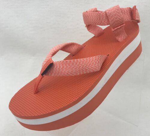 Teva Femme Gladiateur Sandale Plateforme Orange Blanc Bride Cheville Chaussures NOUVEAU