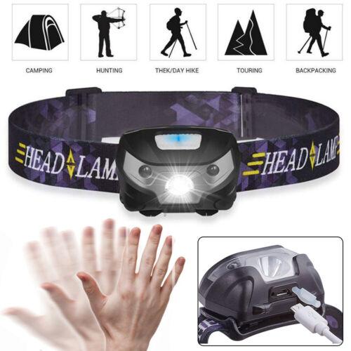 USB Rechargeable LED Head Torch Headlamp Fishing Headlight Flashlight Waterproof