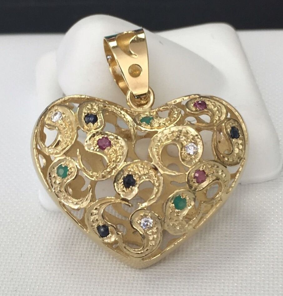Stunning Italian Rubys Emerald Sapphire Filigree Floral design  Heart 18KYG 750