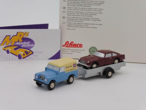 """Schuco Piccolo 05027 # Piccolo Land Rover m Anhänger Aston DBS rot /"""" BCS /"""" !!"""