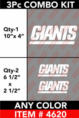 NY GIANTS 3 Pcs COMBOKIT DECAL STICKER #4620 ANY COLOR