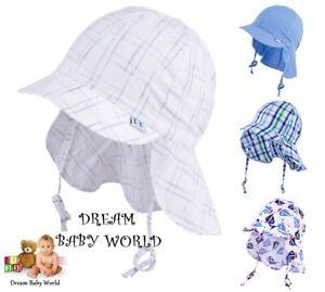 100% Coton été Garçons Bonnet Chapeau Soleil 6 - 18 Mois Baby Cap Cou Protection-afficher Le Titre D'origine