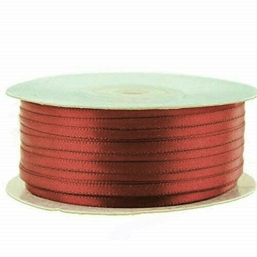 """100yds of Rust 1//8 inch Double Face Satin Ribbon 1//8/"""" x 100yds"""