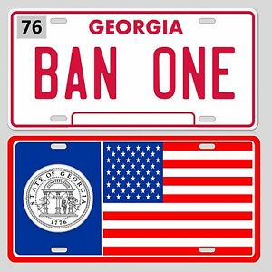 BAN-ONE-Smokey-and-the-Bandit-and-Georgia-State-Flag-License-plate-set-Trans-Am