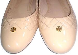 e256d0b2a94ef Details about Tory Burch Kent Ballerina Beige Gold Logo Reva Leather Ballet  Flats Shoe 10- 40