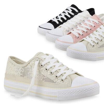 Damen Low Sneakers Spitze Schnürer Bequeme Sommer 75991 Schuhe