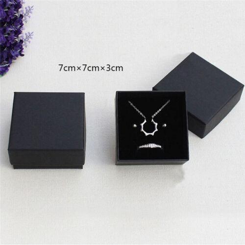 Black Paper Package Case Ring Necklace Earrings Bracelet Jewelry Gift Box FI