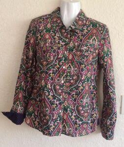 tommy-hilfiger-button-down-shirt-medium-Paisley-Blue-Pink-Polka-Dot-Long-Sleeve