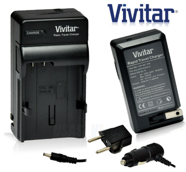 Battery Charger VIVITAR EN-EL15 AC 100V~240V for Nikon Cameras D800/800E