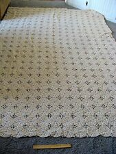 Pretty Vintage Ivory/Beige Heavy Crocheted Bedspread Coverlet 76x108