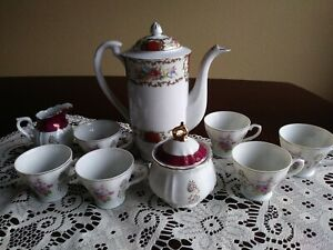 Lot-of-11-Japan-Demitasse-Tea-cups-No-Saucers-1Creamer-amp-1-Sugar-1-Tea-Pot
