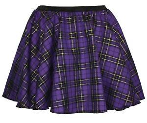 Ladies-Purple-amp-Gold-Xmas-Tartan-Full-Circle-Elasticated-Waistband-Skater-Skirt