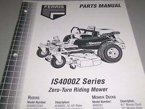 Details about FERRIS Parts Manual * IS4000Z Zero-Turn Mower w/61