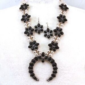 Black-Squash-Blossom-Necklace-Set-Western-Cowgirl-Chic-Gypsy-Native-Rodeo
