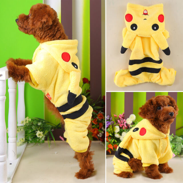 Cute Pet Dog Cat Clothes Coat Apparel Puppy Warm Jacket Hoodie Pikachu Costume