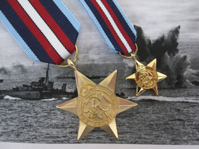 WW2 British ARCTIC STAR Medal Set - Full Size AND Miniature - British Made Award