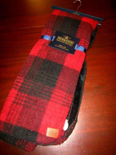 Pendleton buffalo plaid fleece sherpa throw blanket 50x70 nwt red black