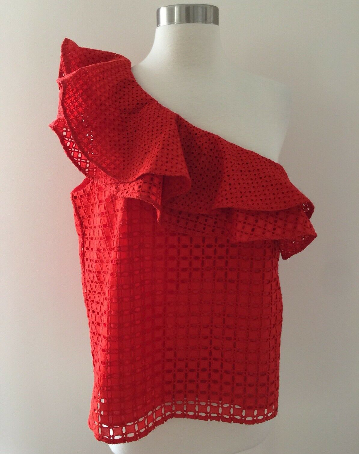 NEW J Crew One Shoulder Ruffle Top In Eyelet rot  G3395 Sz 8