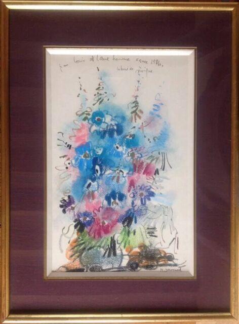 Monique JOURNOD née en 1935.Pastel gras.28x18.SBD.1986.Dédicacé.Encadré 39x29.