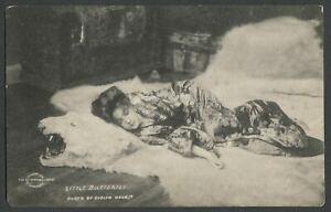 1902-A-S-Campbell-Art-Co-EVELYN-NESBIT-Postcard-LITTLE-BUTTERFLY-On-Bear-Rug
