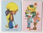 Playing Swap Cards 2 'Ace' Japanese Wide Eye Girls & Cat © Paula J131