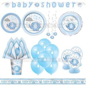 Baby-Shower-GARCON-ELEPHANTS-Vaisselle-Bleu-Fetes-Fournitures-Garcons-Umbrellaphants