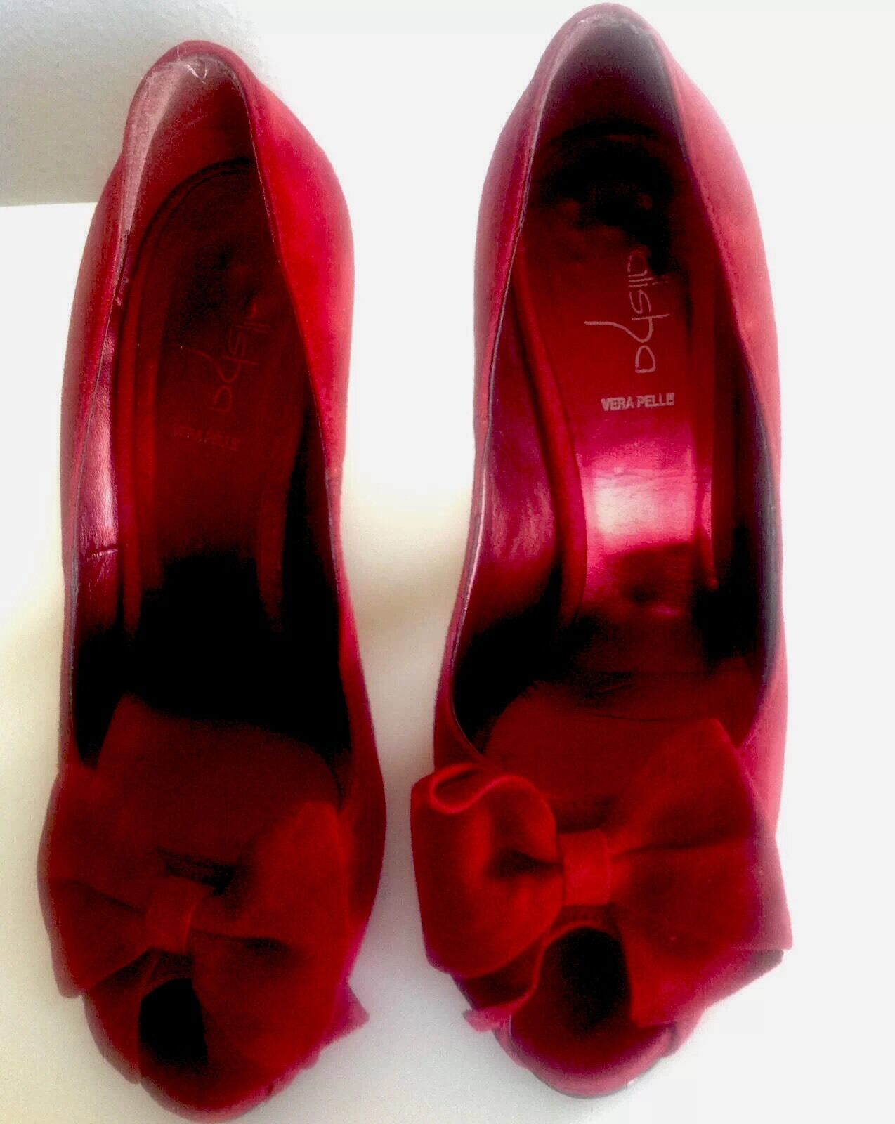 Pin-up-50ies 37 Peep-Toes with Bow Burleske in Cherry-ROT Suede Leder Rockabilly