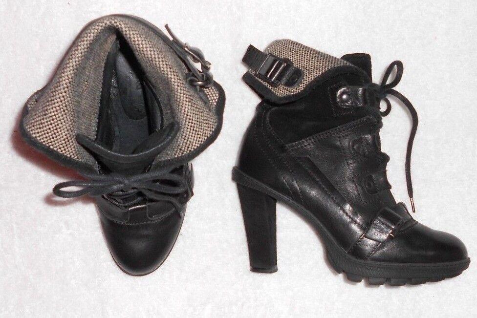 PATAUGAS bottines cuir & daim negro P 38 TBE