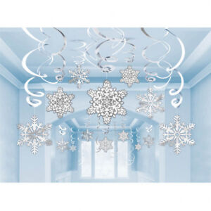image is loading 30 christmas snowflake paper foil swirls frozen winter - Winter Wonderland Christmas Decorations