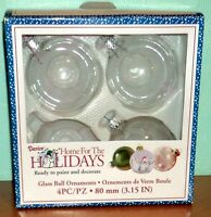 3 Silver & Clear Darice Glass Ball Ornaments 3 1/8 Round Craft Paint Decorate
