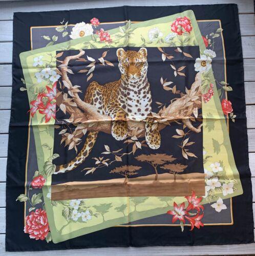 Ferragamo Style Black Silk Scarf Leopard Animal Bi