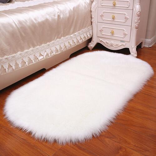 Simulated Sheepskin Rug Mat Plain Fluffy Oval Living Room Bedside Floor Carpet