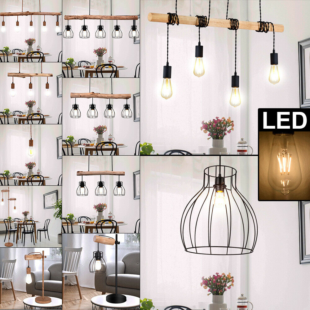 LED Hanging Lights Wood Lattice Pendulum Ceiling Cage Stand Lamp Table Spotlight