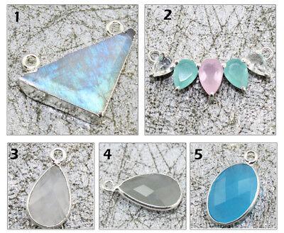 Opalite Chalcedony Multi Gemstone Silver Plated Bezel Connector DIY 4 Pc Set