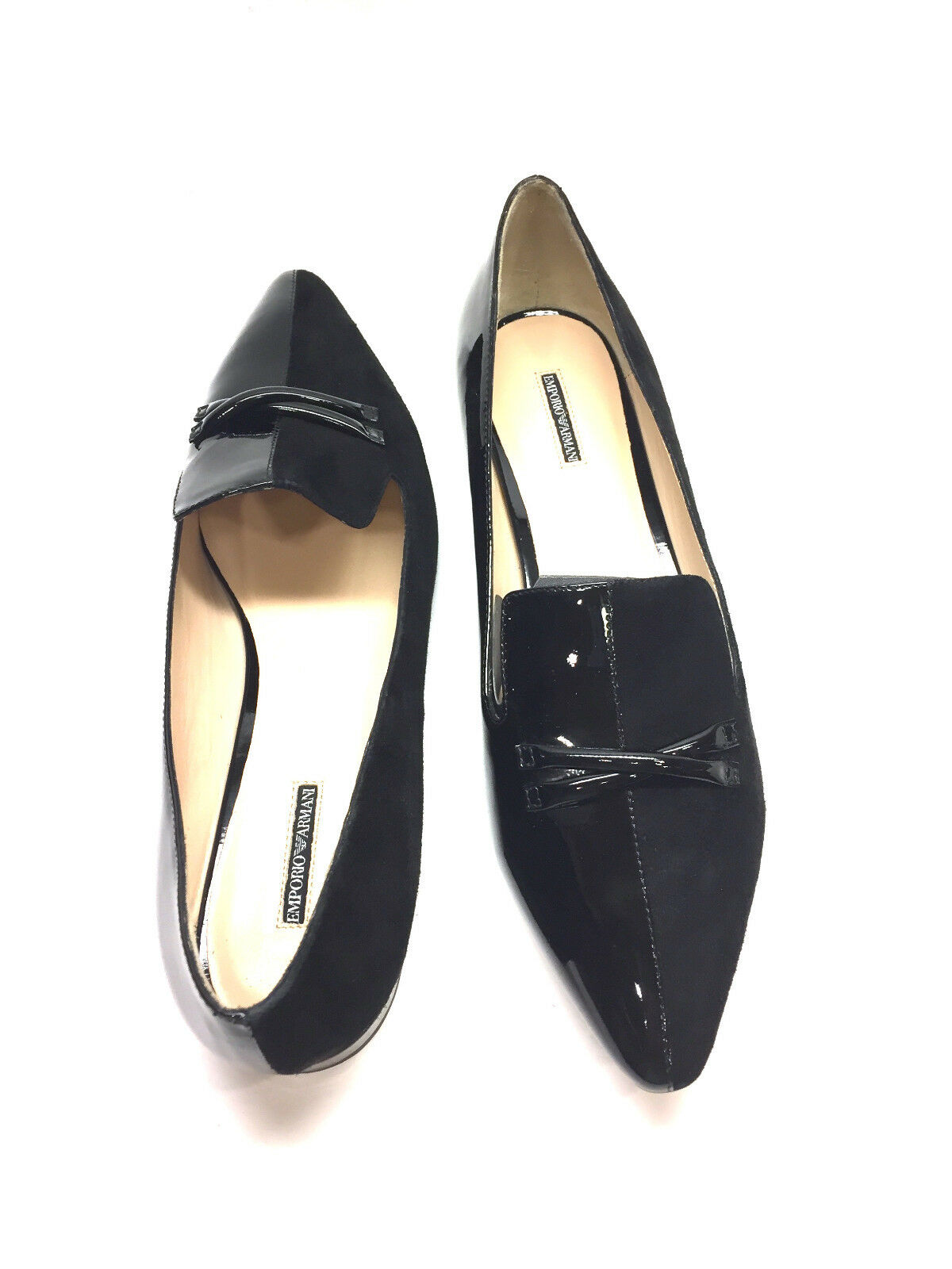 New EMPORIO ARMANI Black Suede Suede Suede Patent Leather Pointed-Toe Tuxedo Flats Sz40 b557e8